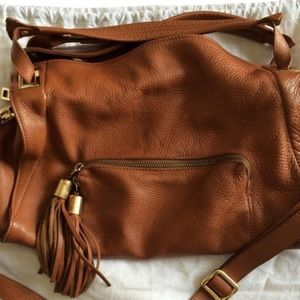 Sandro 'Absynth' 100% leather bag in cognac